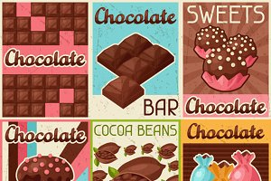 Set of retro posters with chocolate.