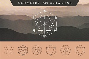 30 Dashed Hexagons