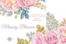 Memory Blossom Watercolor Clipart