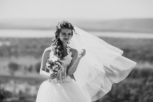 beautiful happy stylish bride