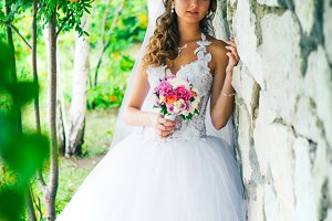 Beautiful  young bride standing