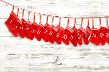 Advent calendar. Red stocking
