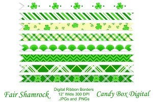 Fair Shamrock Ribbon Borders