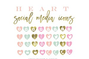 heart social media icons & buttons