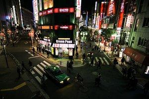 Shinjuku lights in Tokyo Japan.