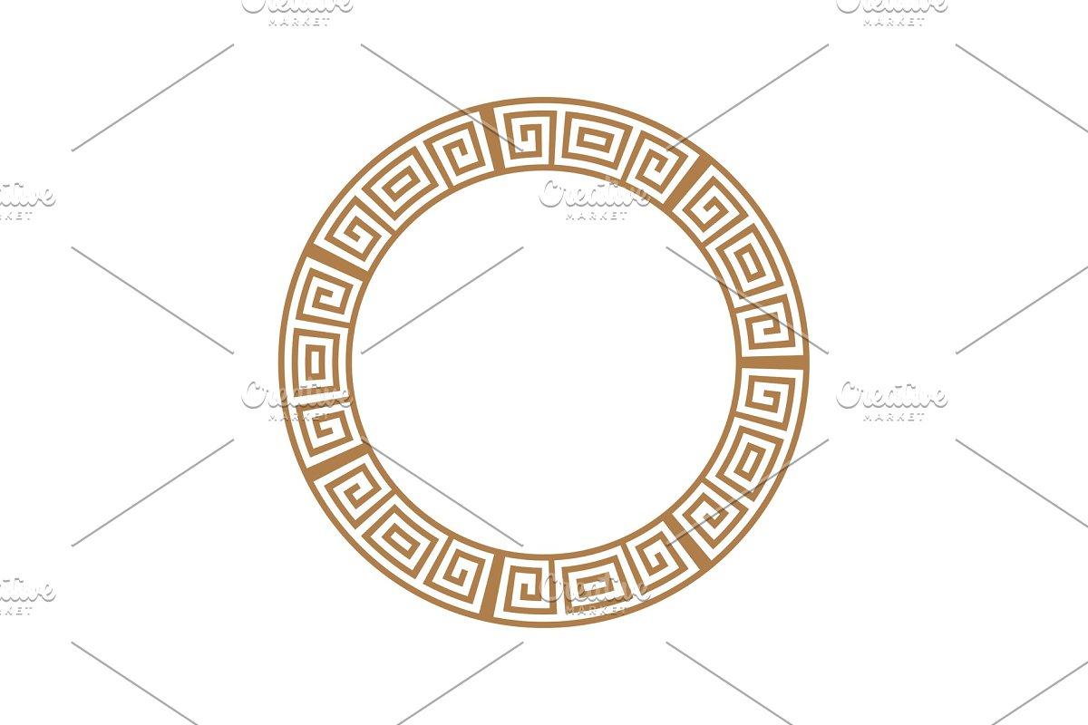 Greek key round frame. Greek border