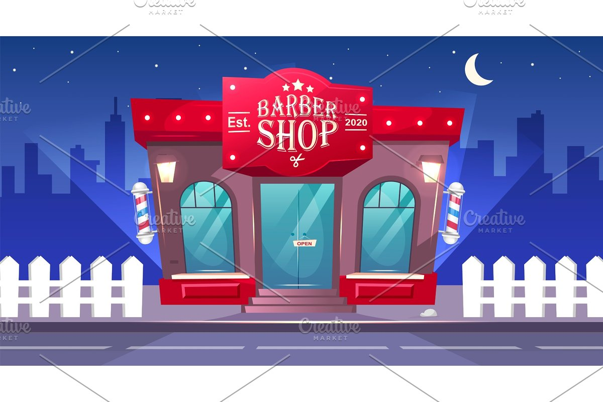 Barbershop front at night