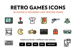 Retro Games Line Icons