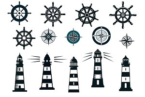 Set of marine or nautical objects