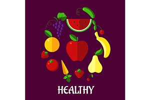 Healthy eating poster with fruits an