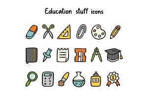 Education stuff icons