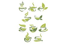 Collection of green or organic tea i
