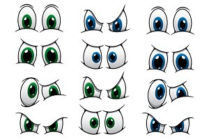 Set of cartoon eyes showing various