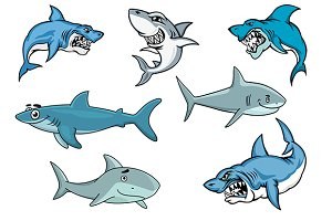 Cartoon sharks with various expressi