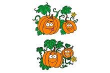 Cartoon pumpkins growing on vines