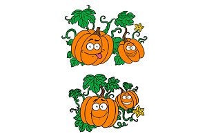 Cartoon pumpkins growing on vines