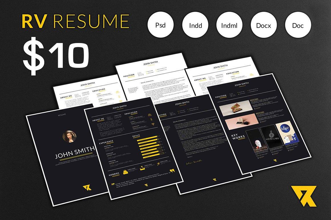 rv resume template v 1 resume templates creative market