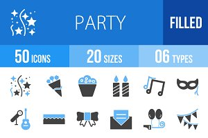 50 Party Blue & Black Icons