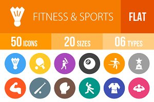 50 Fitness & Sports Flat Round Icons