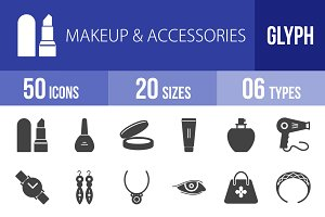 50 Makeup & Accessories Glyph Icons