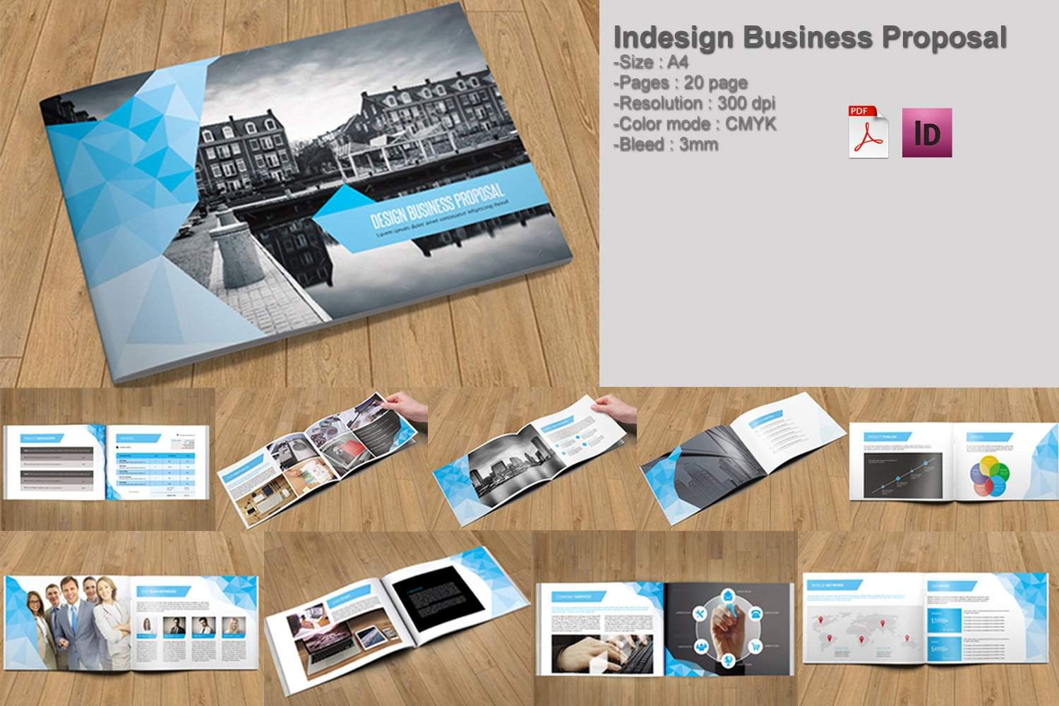 Indesign business proposal v213 brochure templates creative market flashek Image collections