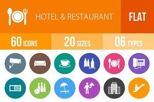 60 Hotel&Restaurant Flat Round Icons