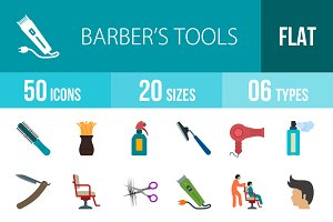 50 Barber's Tools Flat Multicolor