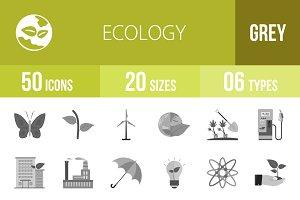 50 Ecology Greyscale Icons