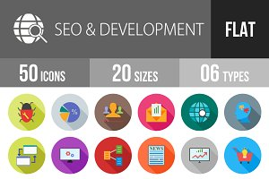 50 SEO & Development Flat Shadowed