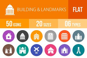 50 Buildings & Landmarks Flat Round