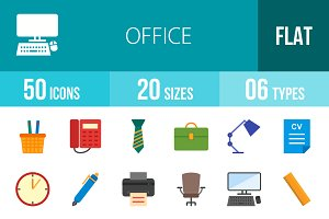 50 Office Flat Multicolor Icons