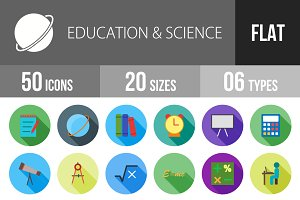 50 Education & Science Flat Shadowed