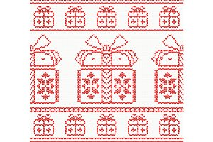 Knitted pattern with gift boxes.
