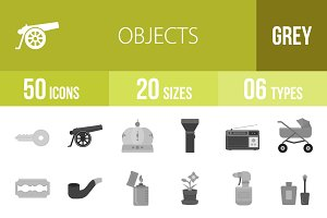 50 Objects Greyscale Icons