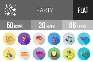 50 Party Flat Shadowed Icons