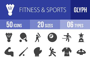 50 Fitness & Sports Glyph Icons