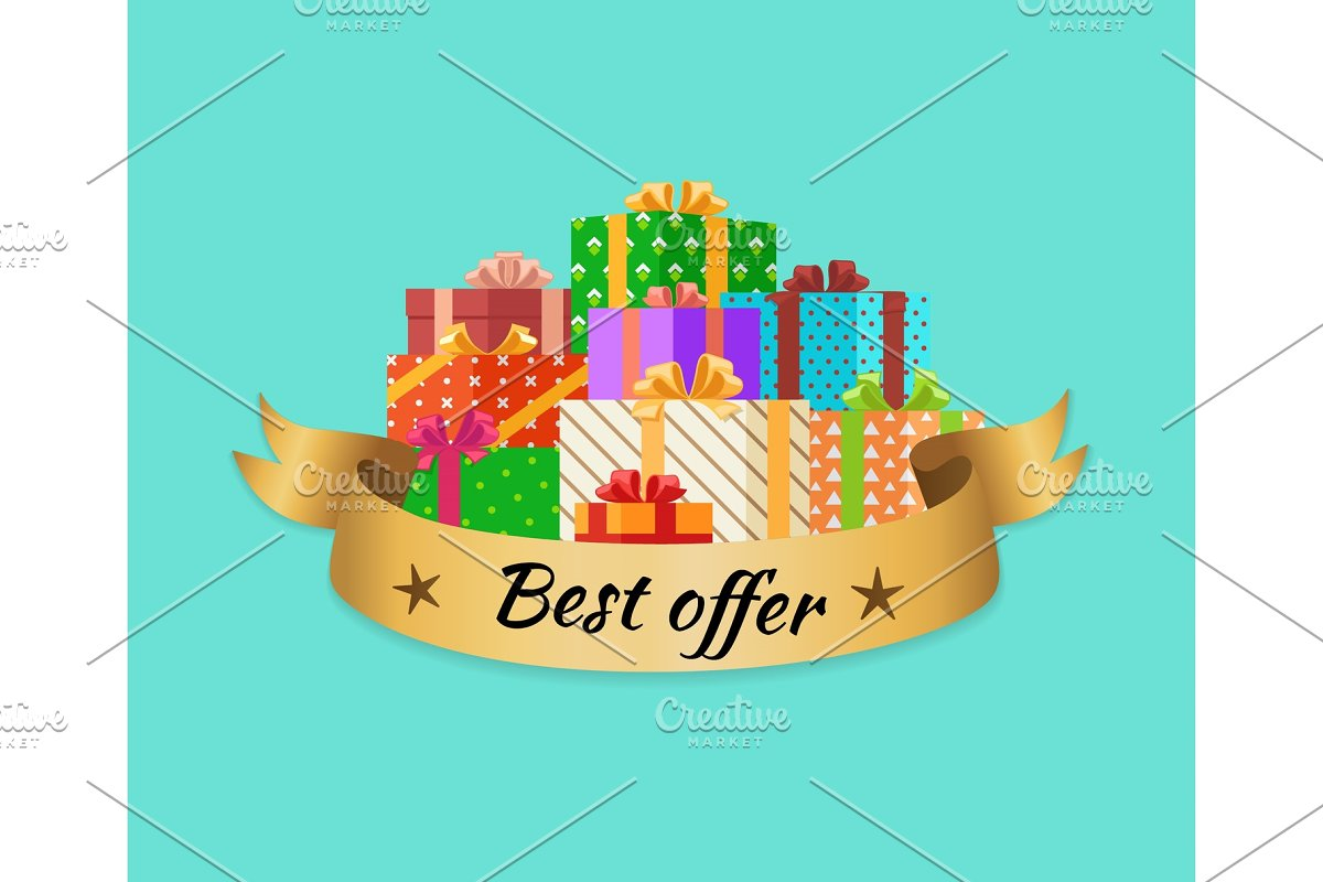 Best Offer Promo Poster with Gold in Objects