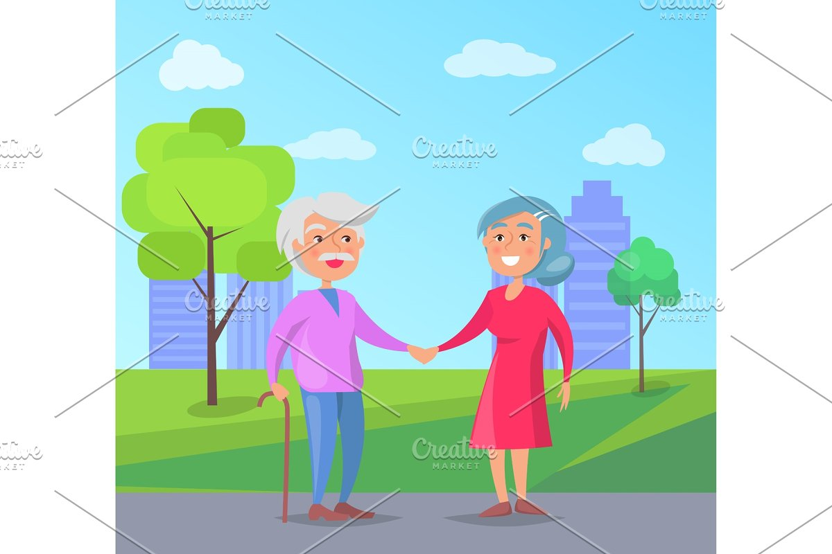 Happy Grandparents Day Senior Couple in Objects