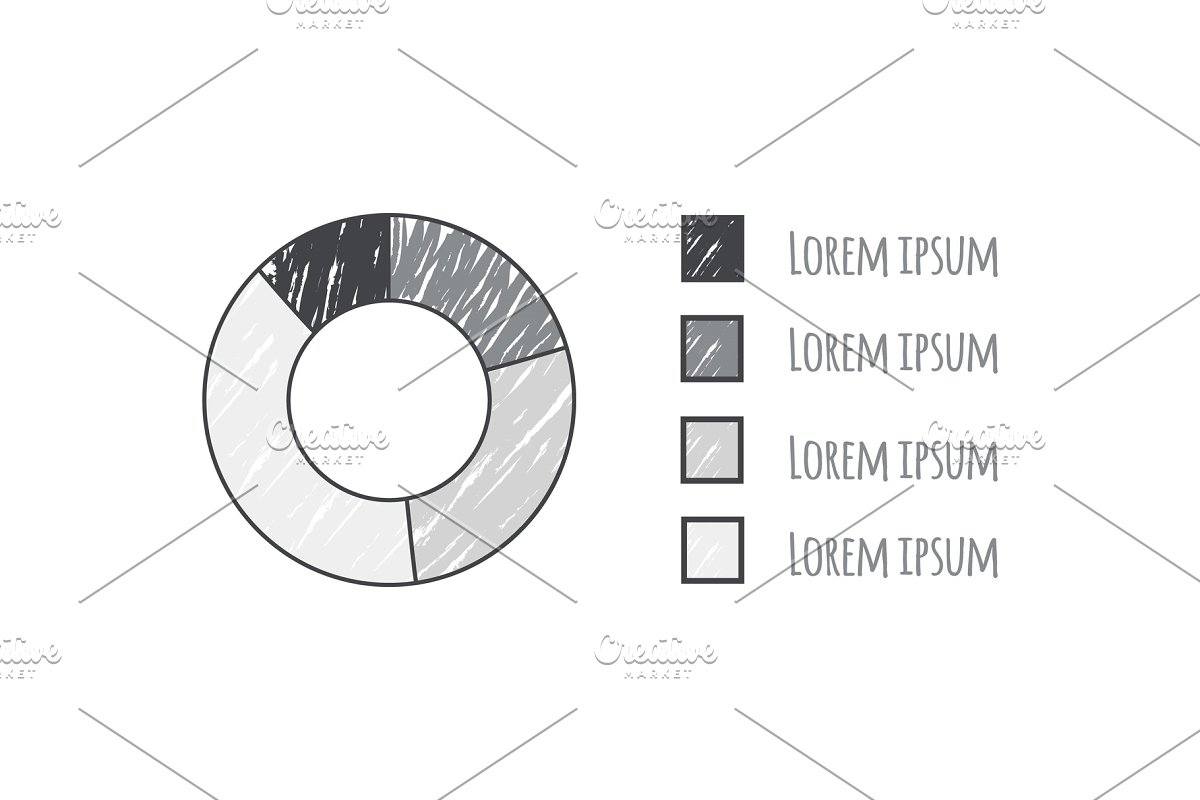 Sketch of Pie Diagram Data Vector in Objects