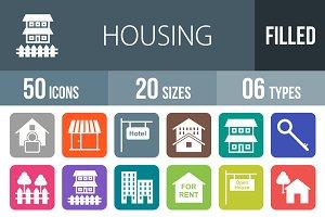 50 Housing Flat Round Corner Icons