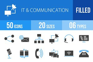50 IT&Communication Blue&Black Icons
