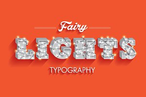 fairy lights typography vector