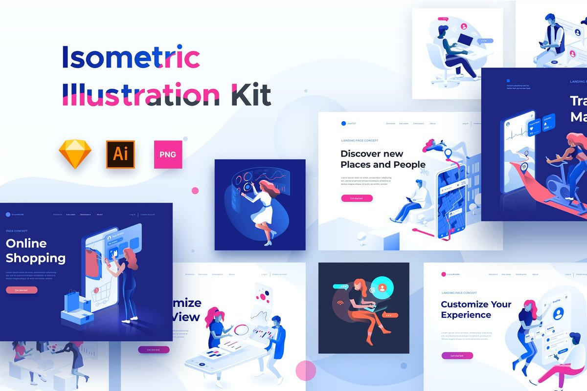 Isometric illustration kit – People Free Download
