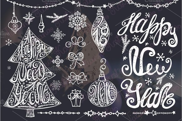 Christmas tree lettering.New year - Illustrations