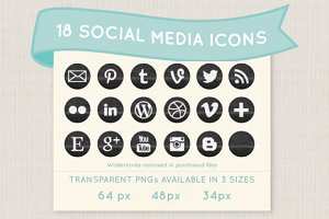 Chalkboard social media icon set
