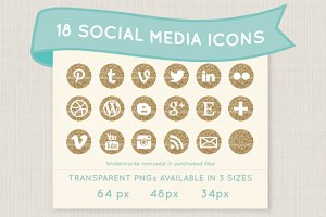 Gold glitter social media icon set