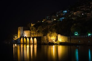 Night view of ancient shipyard