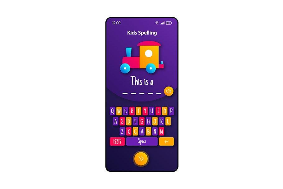 Kids spelling smartphone interface
