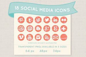 Coral watercolor social media icons