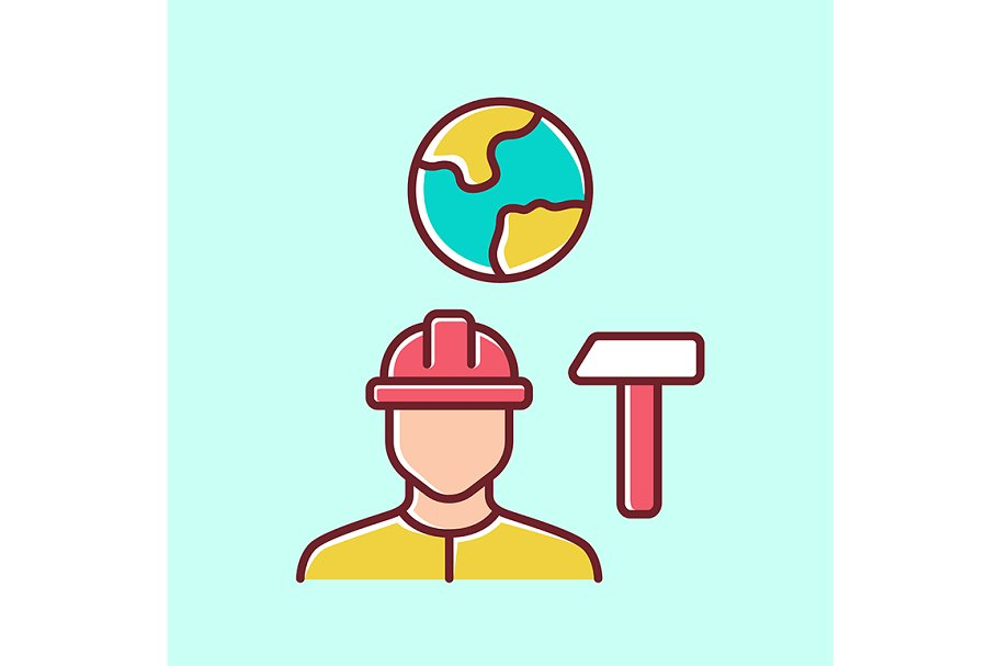 Job for immigrants yellow color icon